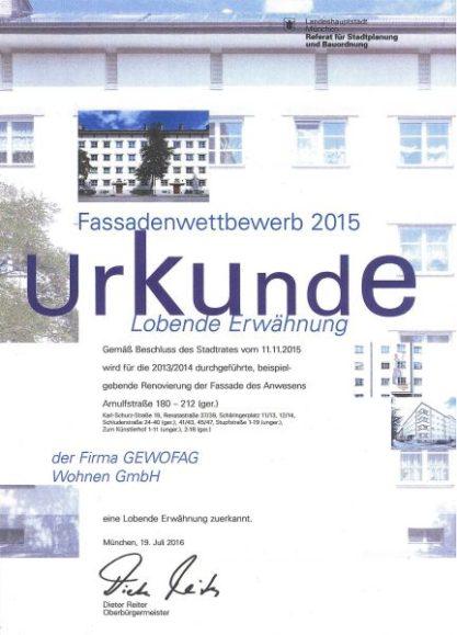 2015_Fassadenpreis_Urkunde